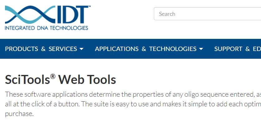 IDT SciTools高级引物序列设计