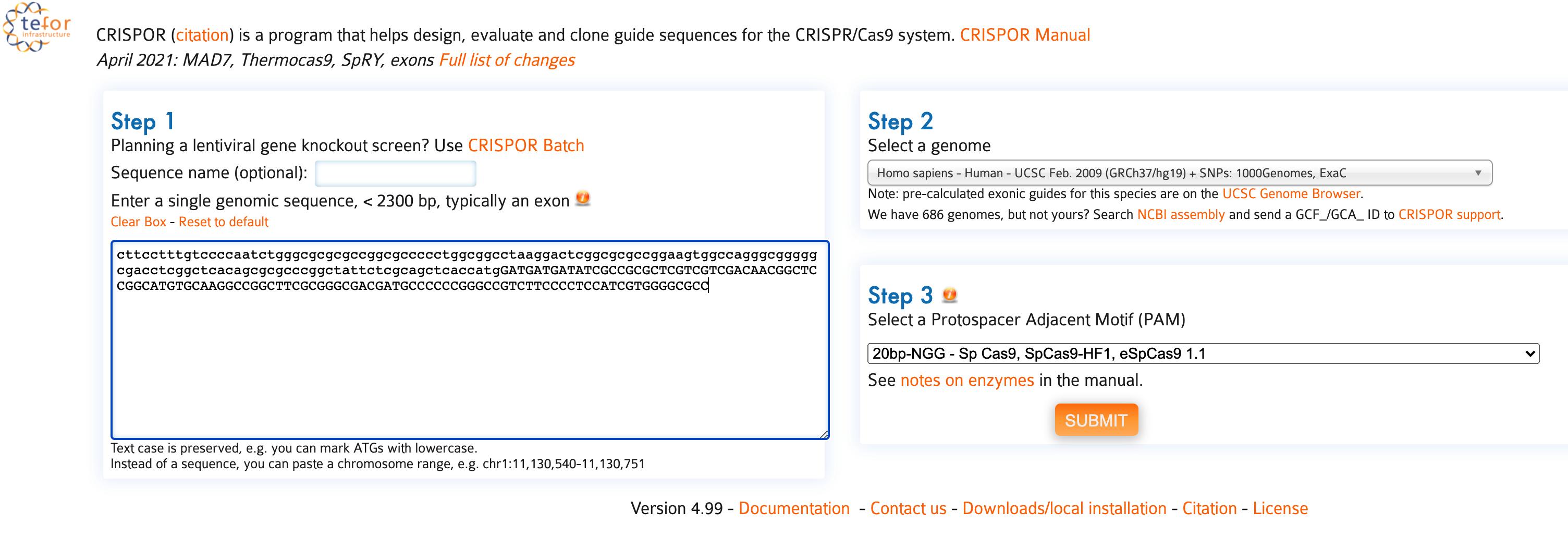 CRISPR 设计和Off Target预测:tefor